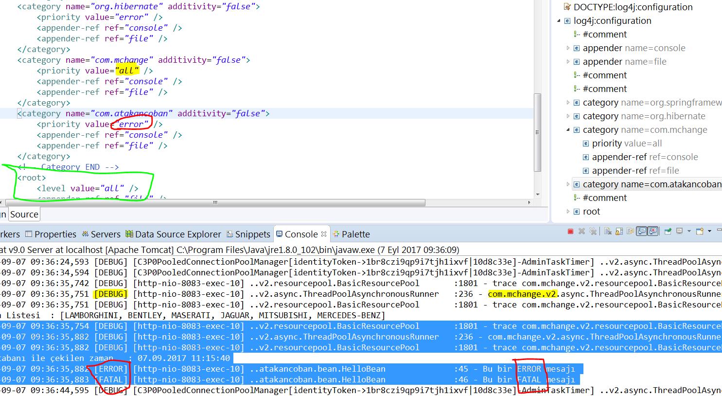 Spring log4j category düzenlenmesi örneği