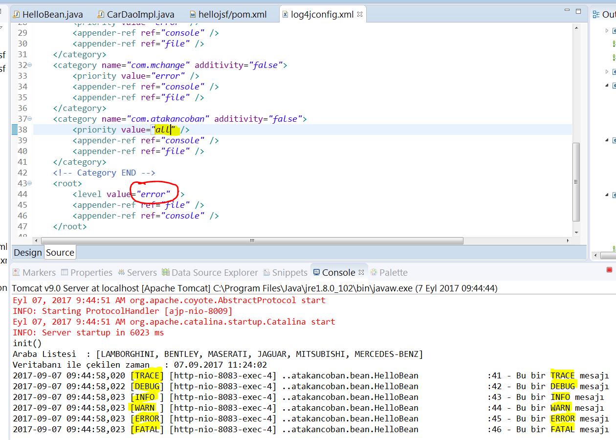 Spring log4j category düzenlenmesi örneği 2